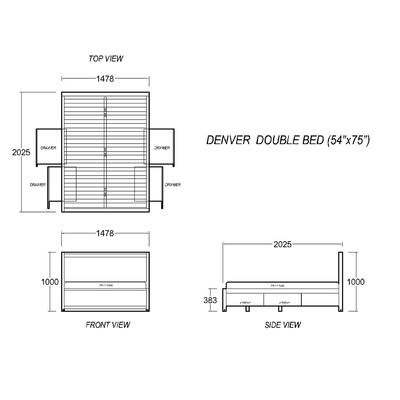 Denver Double Bed 54x75""