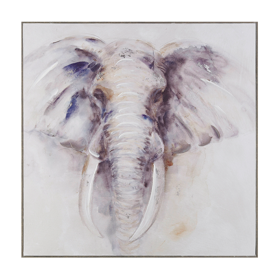 Elephant Safari Printed Canvas + Ps Frame 80x80x3.5 cm