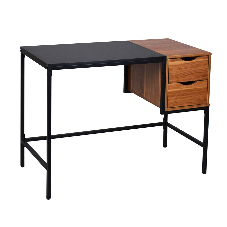 Farid Office Desk - Walnut + Black