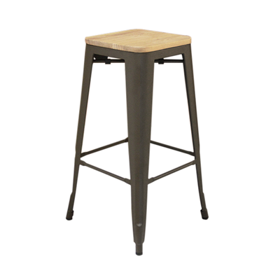 Matt Wooden Seat Bar Stool