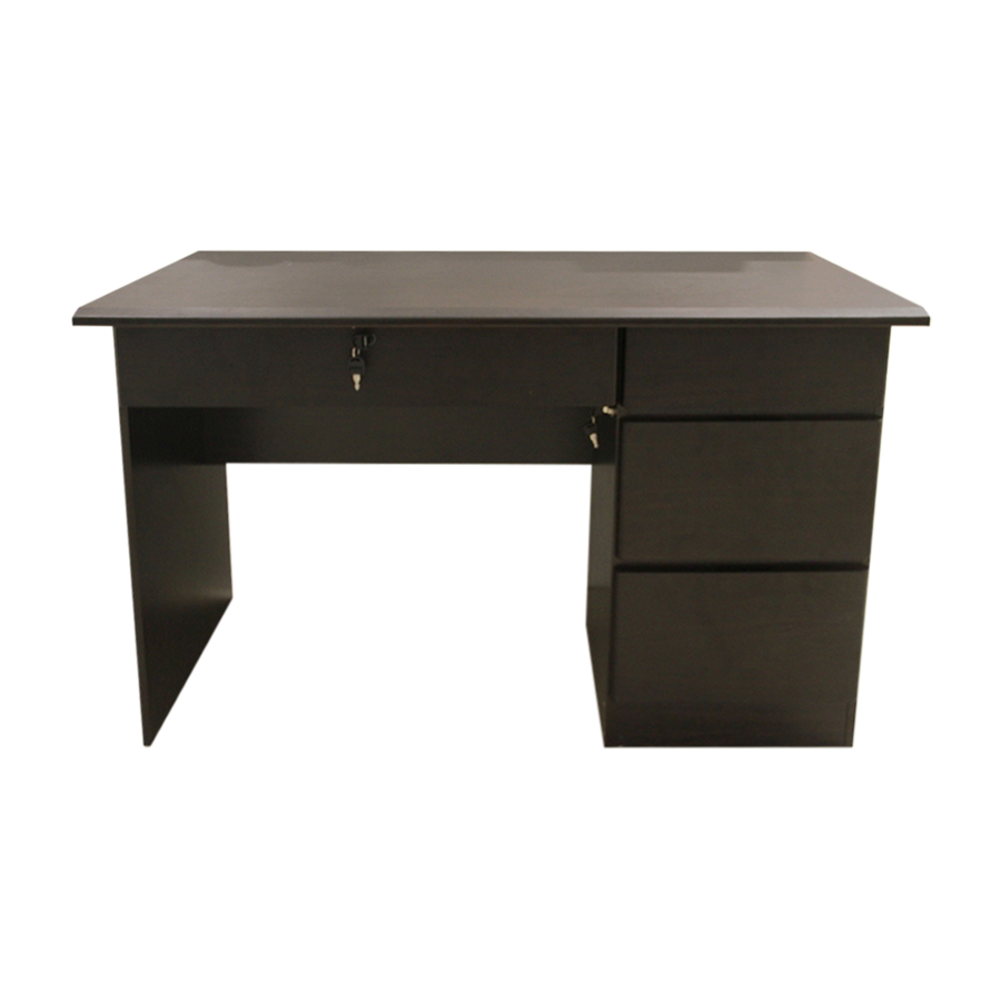 Gray Office Desk - Dark Brown