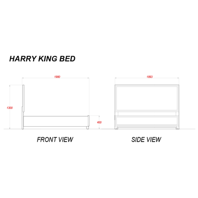 Harry Upholstered King Bed 72x75""
