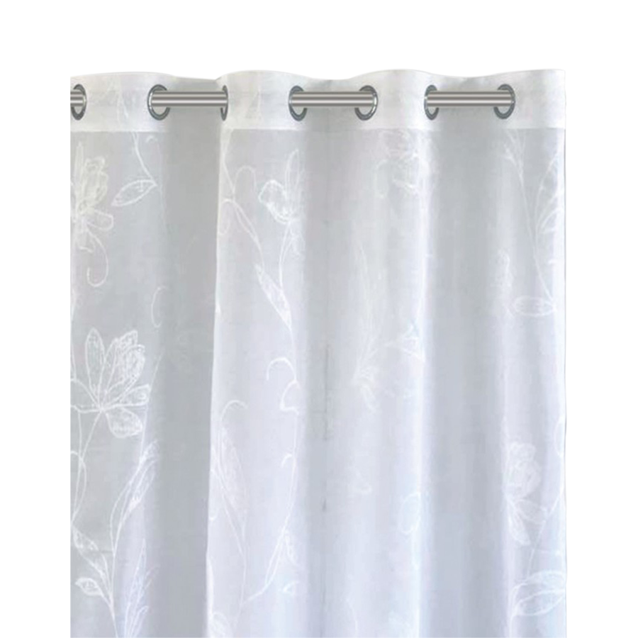 IHF014 White Floral Print Grommet 54 X 95""