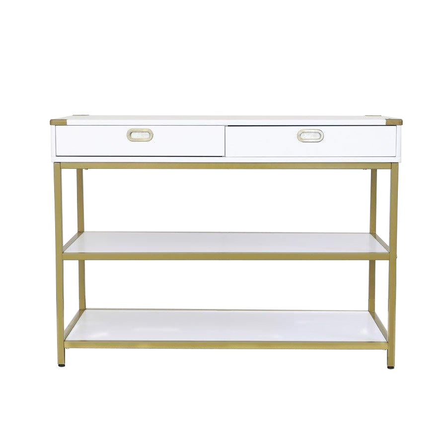 Lynn Console Table - White + Gold