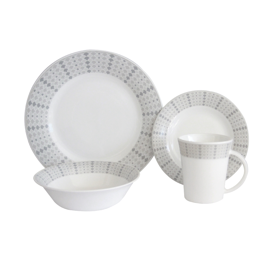 NR8FT-A 8pc Set Printed Opal Dinnerware