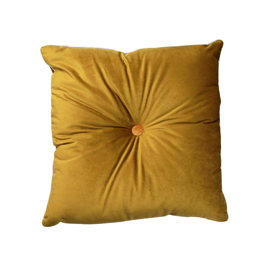 One Button Square Pillow with Silver Piping
