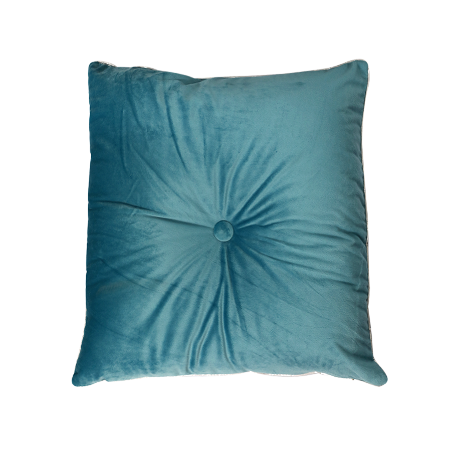 PLP08-1 One Button Blue Square Pillow