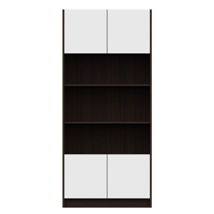 Rivet Bookcase 76.7cm With 4 Doors