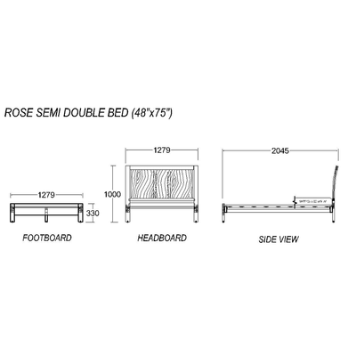 Rose Semi-Double Bed 48x75""