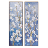 White Flower Canvas Wall Art Set Of 2 40x120cm