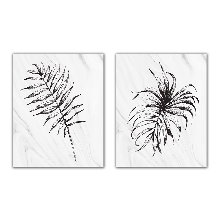 WT18-PJ1523-1524 Black Tropical Leaves Set of 2