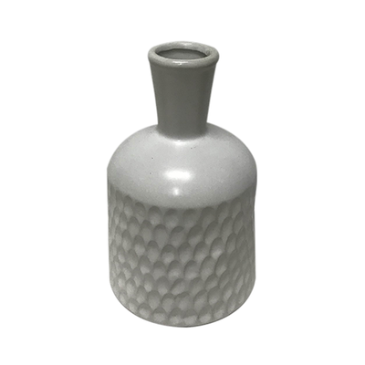 White Hammered Table Vase