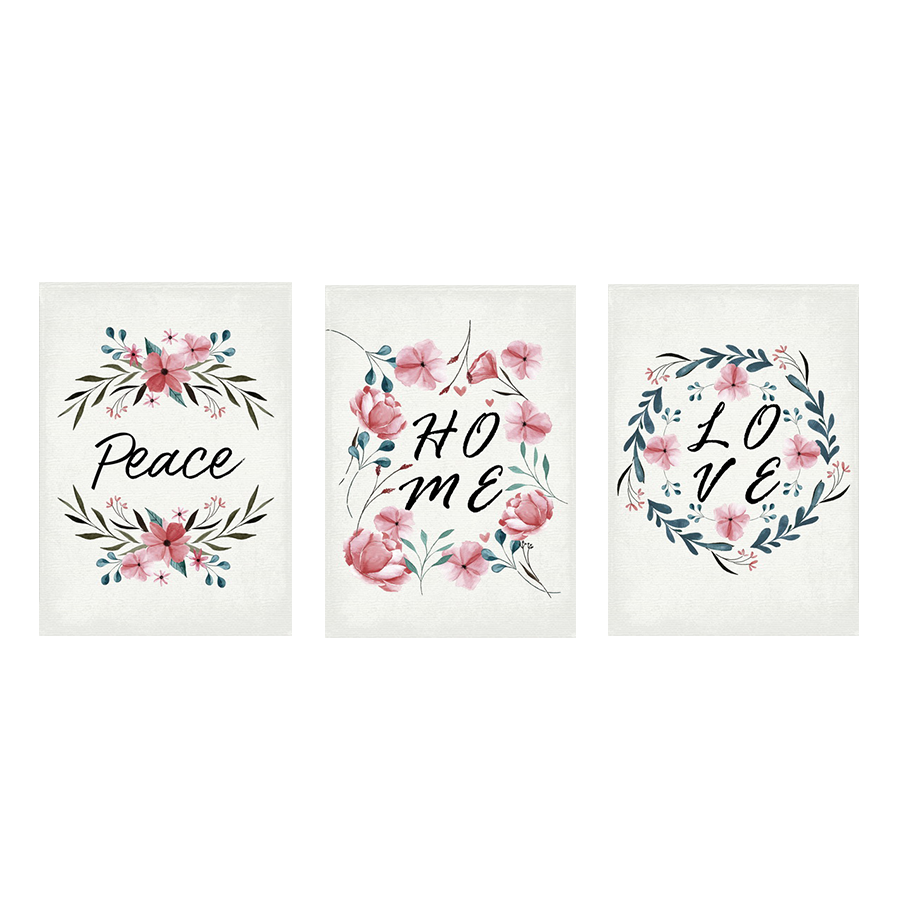 Xcc192293/94/95f Love, Peace, Home Canvas Wall Frame S/3 30x40cm