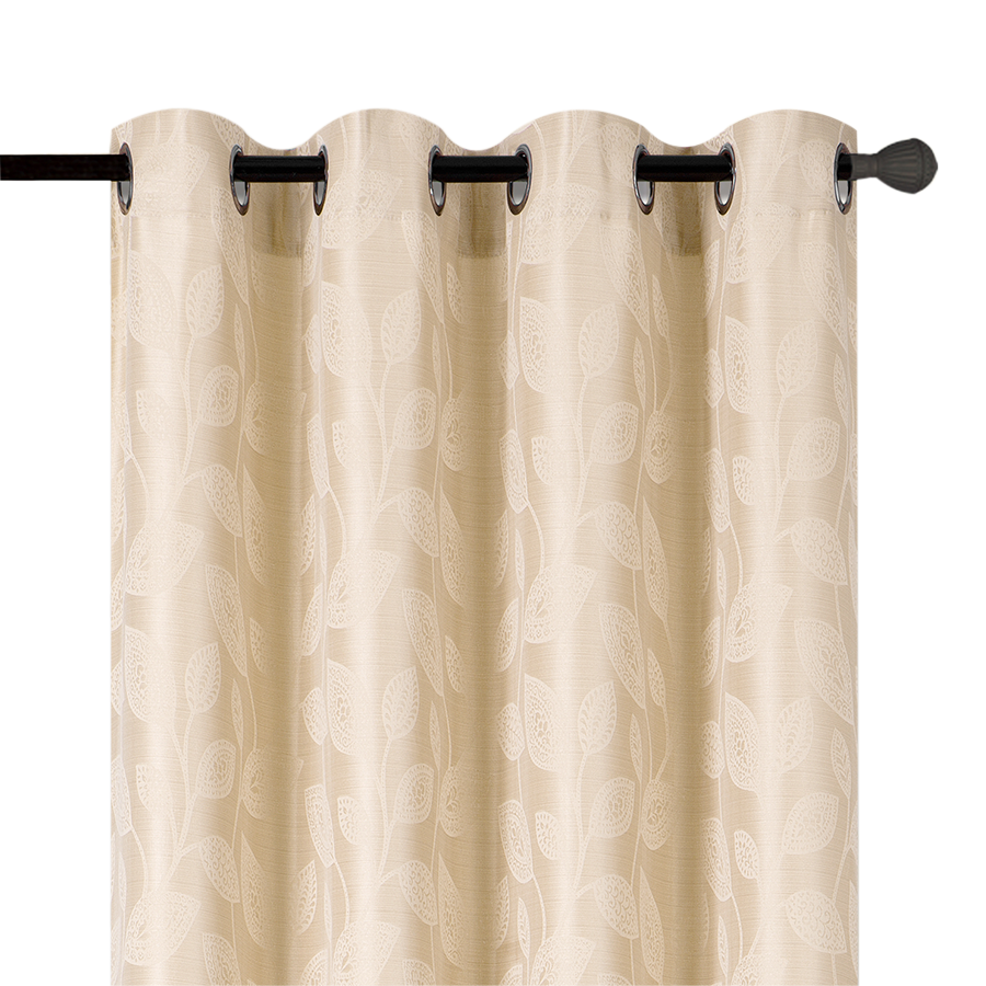 YW-PA-517 Cream Leaves Grommet 54 X 95""