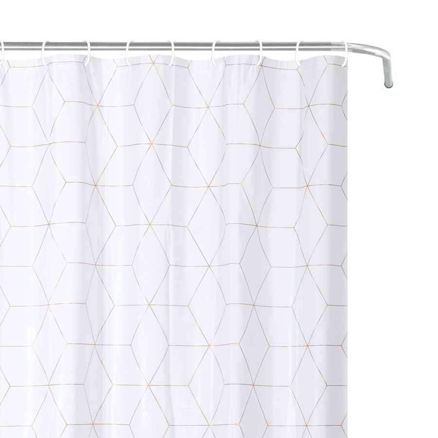 YW-SC-402 Peva Shower Curtain - Golden Geo