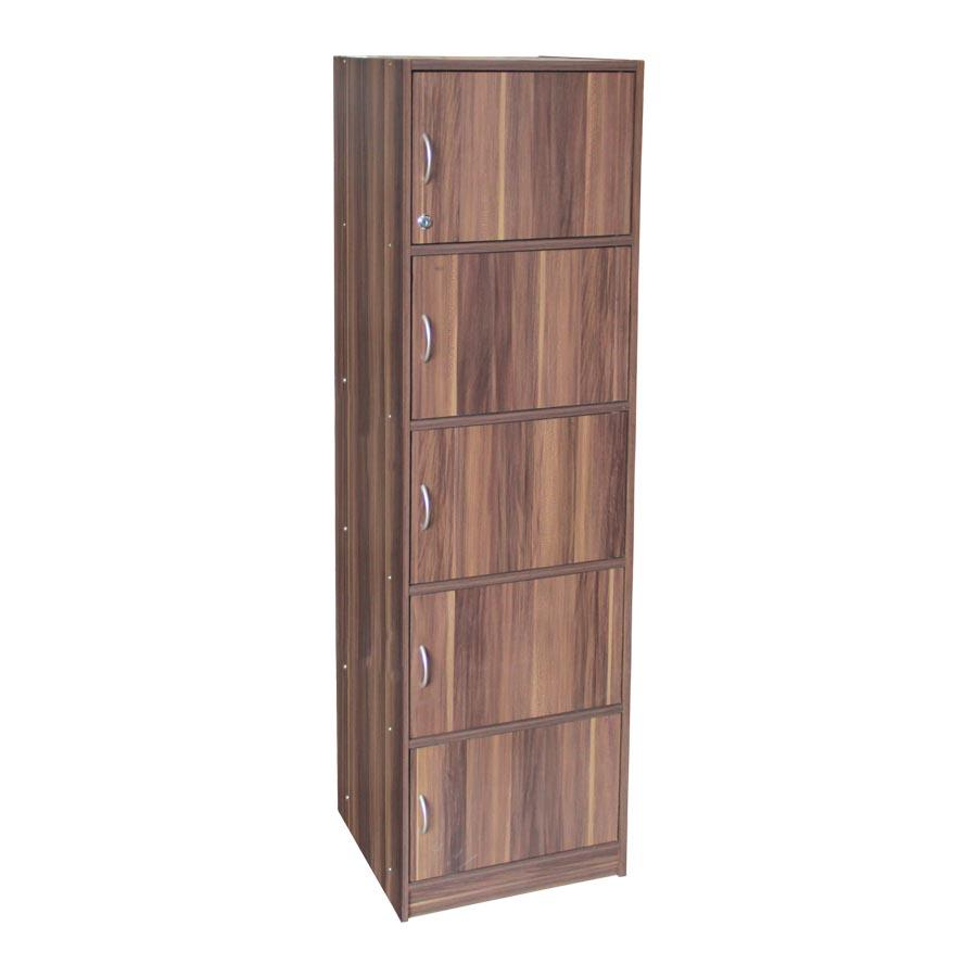 Deon 5 Tier Storage Bookcase - French Walnut