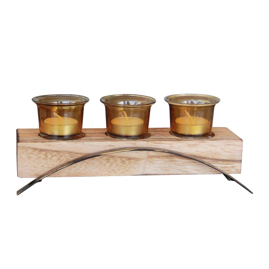 39759 3pcs Wood and Metal Candle  Holder - Mandaue Foam