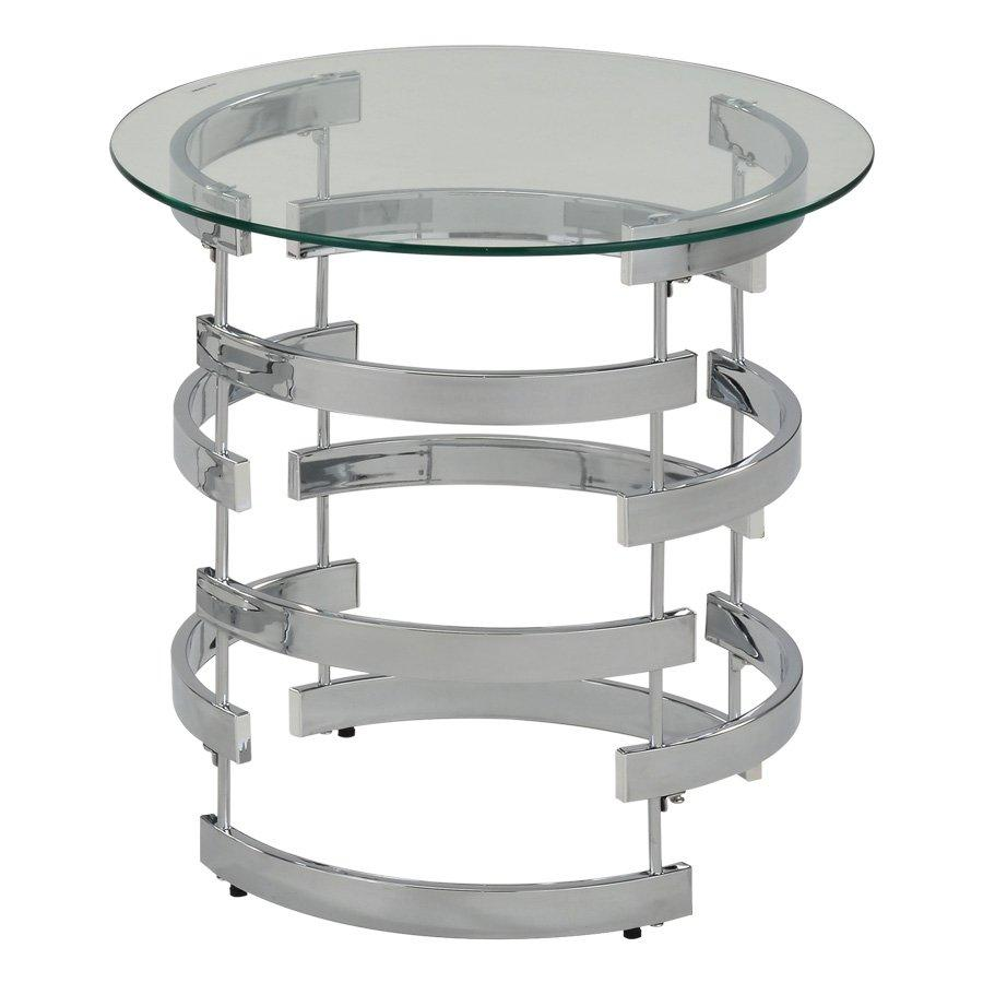 Ember Side Table - Chrome + Glass