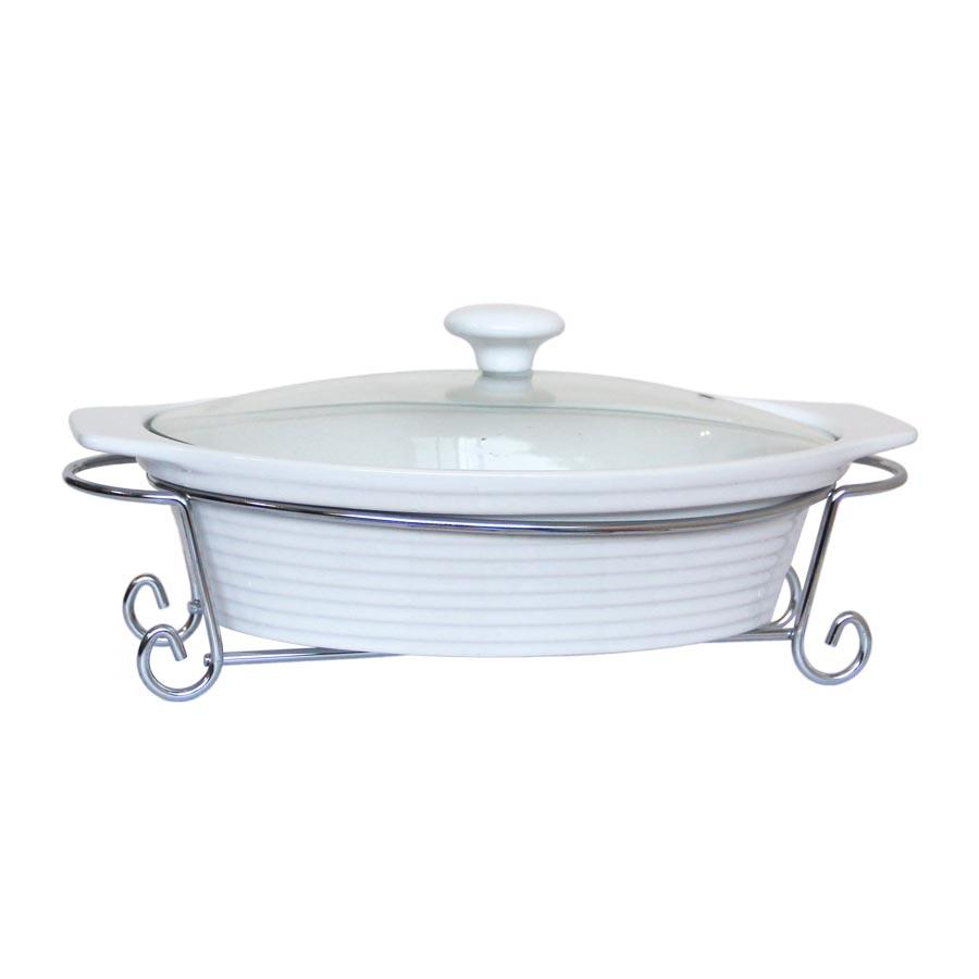 "CX9761 12"" Oval Casserole With Metal Stand"