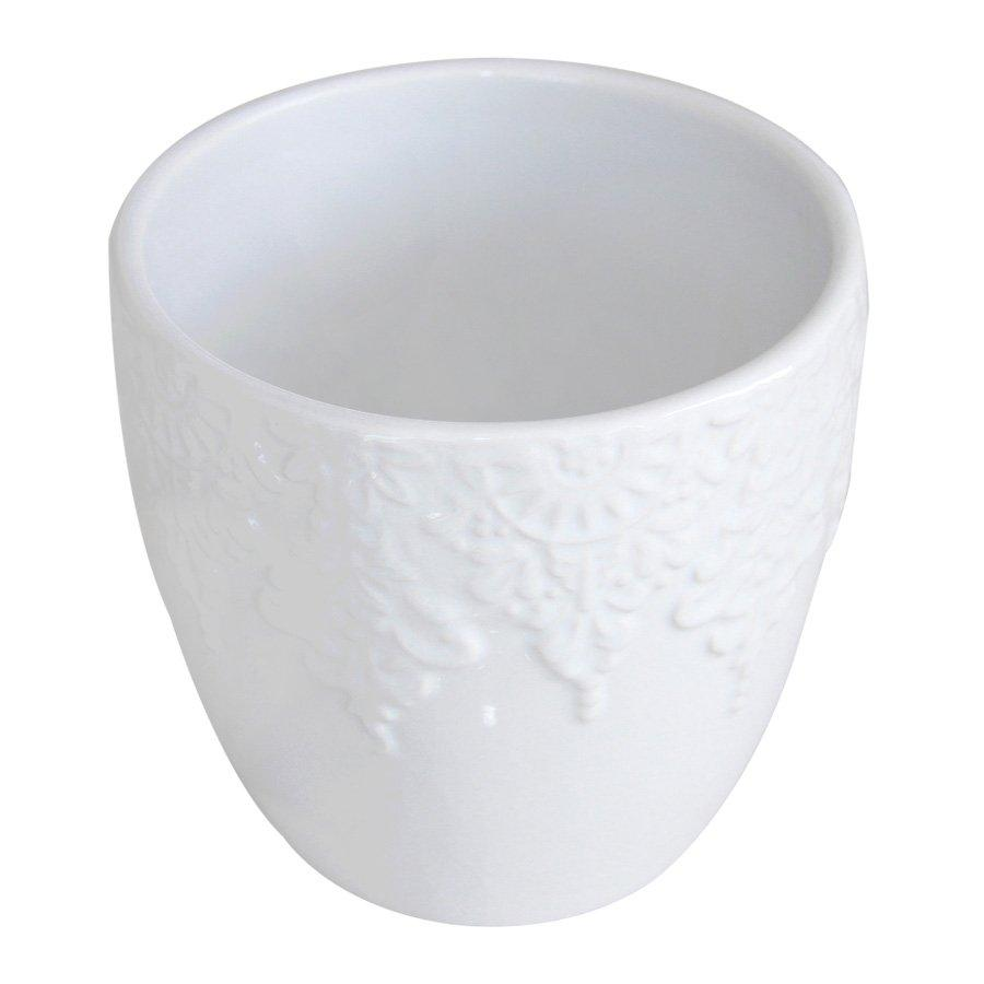 1701002C White Shiny Ceramic Pot H:12.5cm