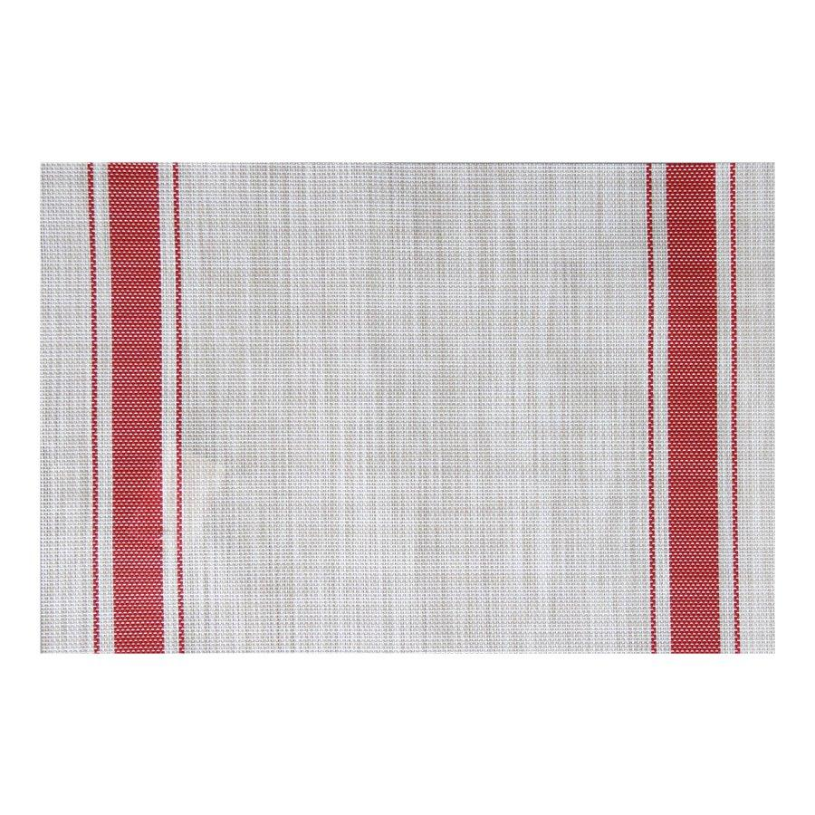 ST210706-1 Linen Red Strip Placemat 30x45