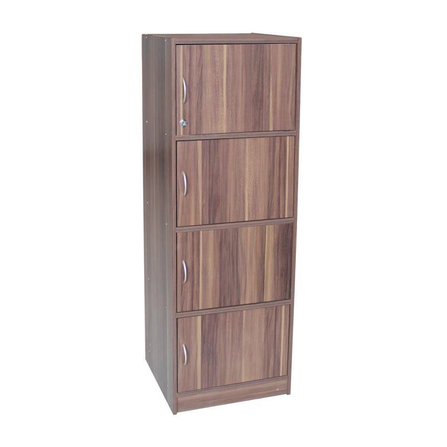 Deon 4 Tier Storage Bookcase - French Walnut - Mandaue Foam