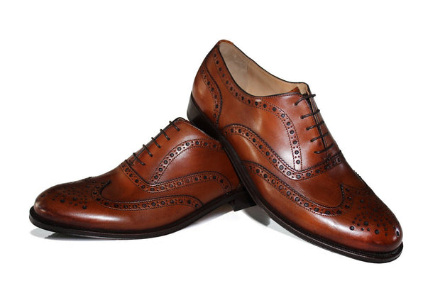 Bordeaux Fullbrogue Oxford Schuhe – Rahmengenäht – Made in Italy