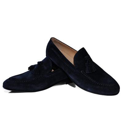 Navyblauer Tassel Loafer – Rahmengenäht – Made in Italy