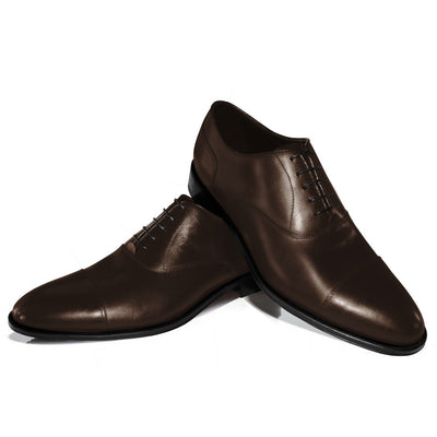 Braune Captoe Oxford Schuhe – Rahmengenäht – Made in Italy