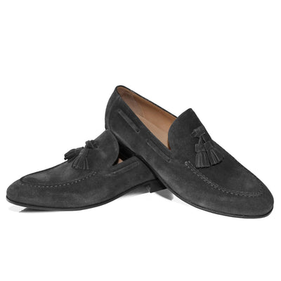 Grauer Tassel Loafer – Rahmengenäht – Made in Italy