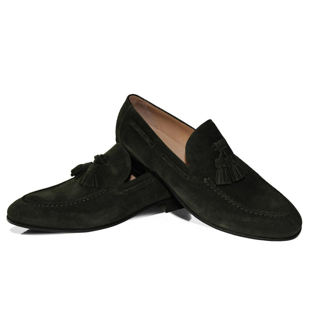 Dunkelgrüner Tassel Loafer – Rahmengenäht – Made in Italy