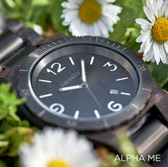 Alpha ME Black Rough Wood Watch