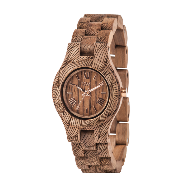 Criss Waves Nut Rough Wood Watch