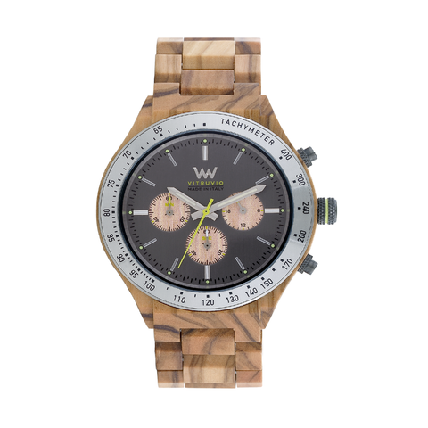 Vitruvio MB Olive Gun Wood Watch