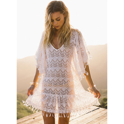 White Crochet Cover Up With Tassels Soul Devocean