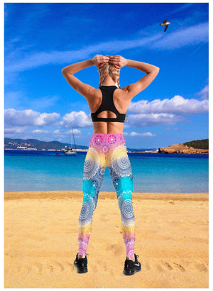 Slim Workout Leggings with flashy Floral design