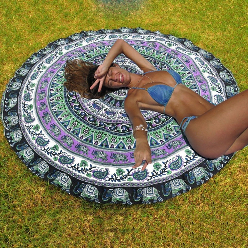 Fashion Boho Style Ibiza Hippie Indian Mandala Beach Towel & Yoga Mat