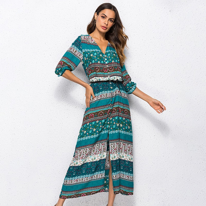 Bohemian long summer 2019 Ibiza dress