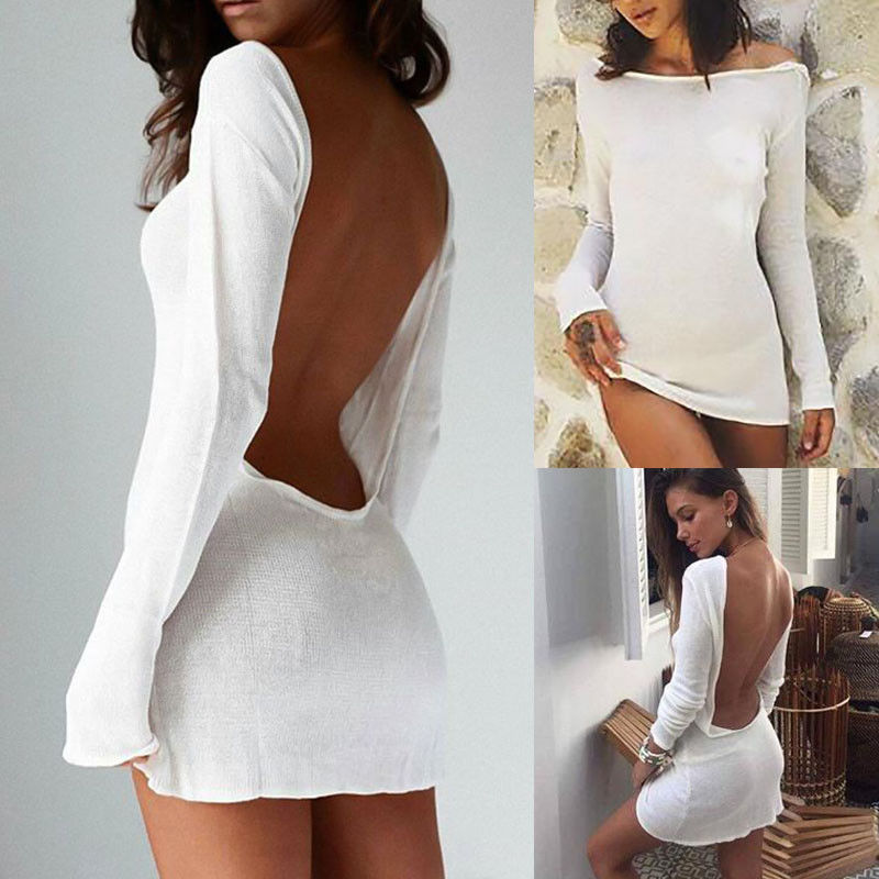 2019 Ibiza Summer Sexy Slim Long Sleeve Backless Bodycon Cocktail Party lets go