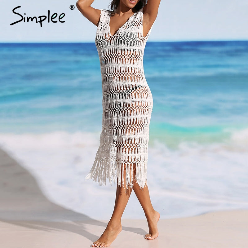 Sexy summer swimsuit cover-ups See through beach dress party club white