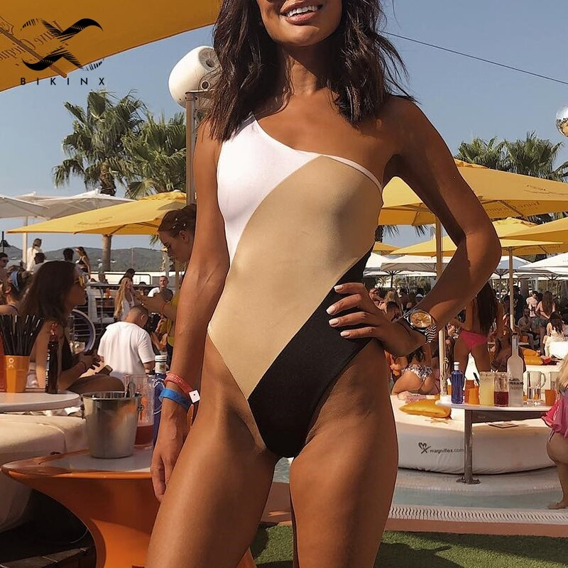 sexy patchwork block color bathing suit