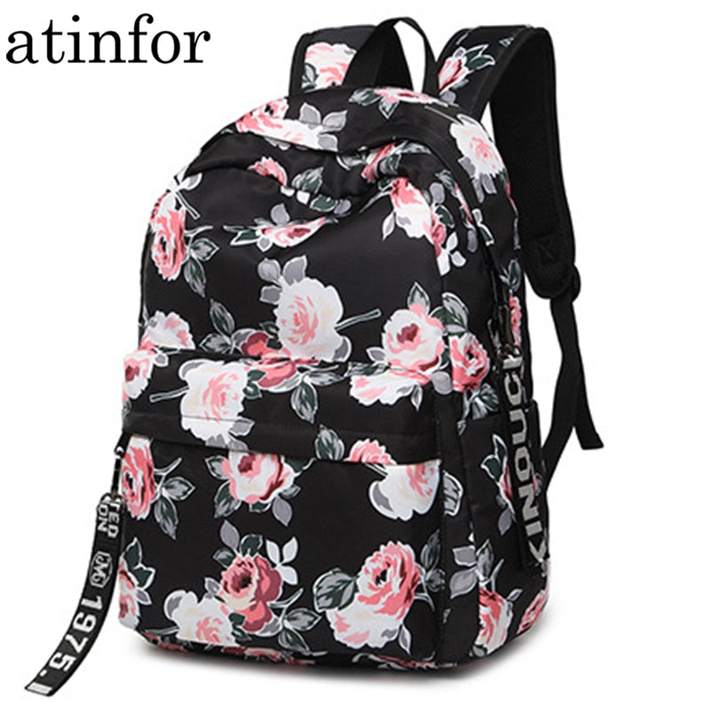 Water Resistant Nylon Flower Printed Women Backpack