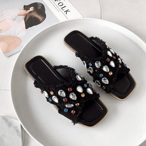 2019 unique IBIZA summer slipper with crystal embrodery