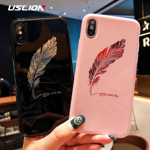 USLION Silicone Feather Case For iPhone