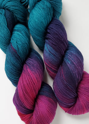 Amalia Hand Dyed Yarn Teal and Orchid