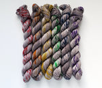 Rainbow Grey Speckled Mini Hand Dyed Sock Yarn Set