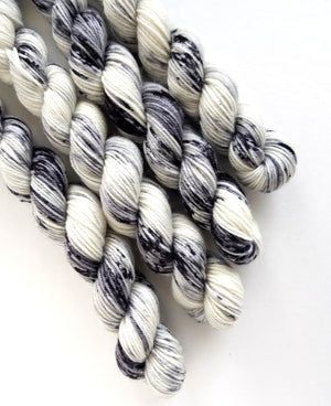 Peppery Mini Skein Hand Dyed Yarn Black Speckle