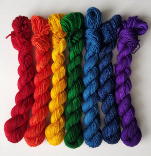 Rainbow Mini Hand Dyed Sock Yarn Set