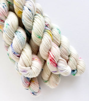 Sprinkle City Mini Skein Hand Dyed Yarn Rainbow Speckles