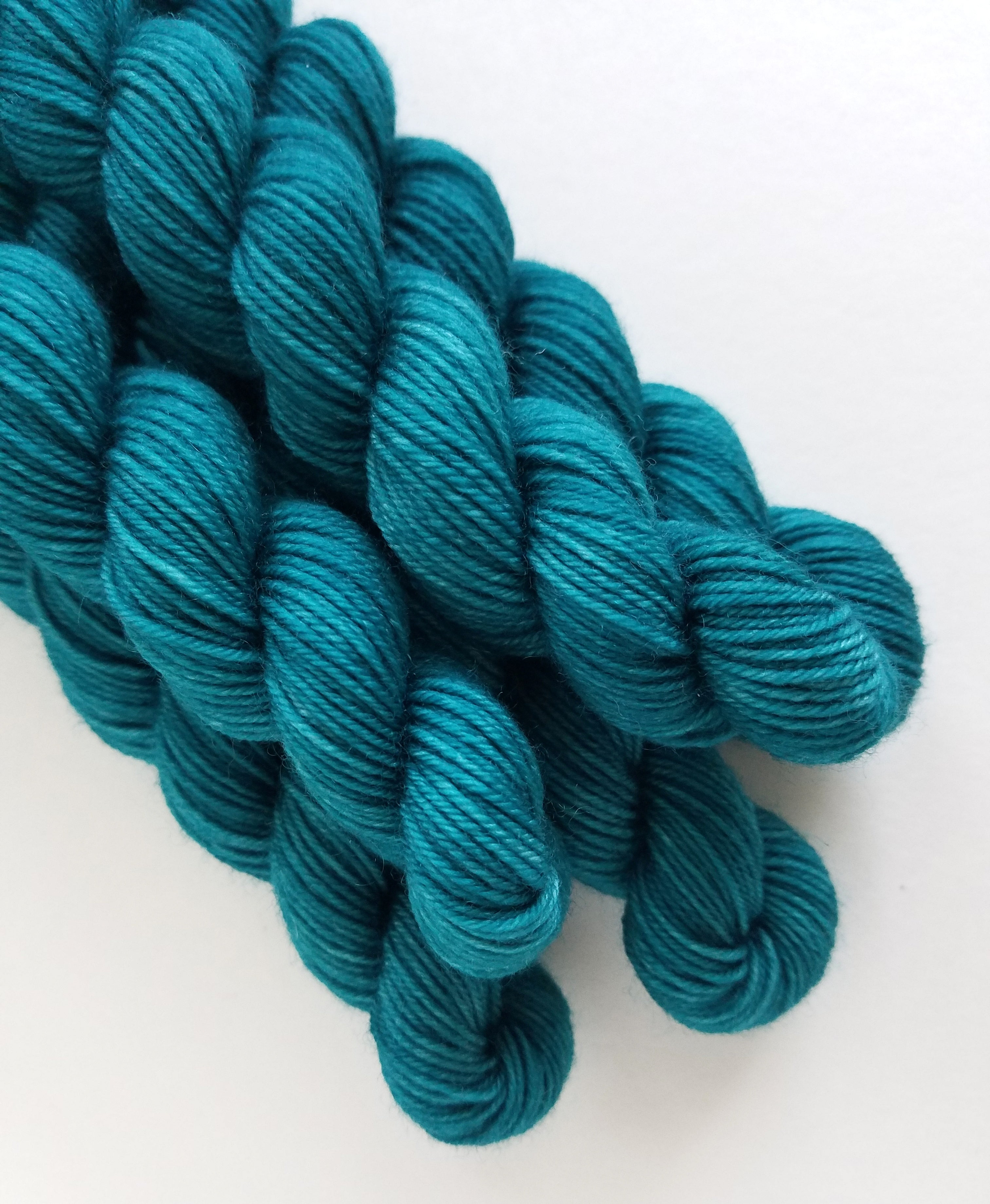 Teal Mini Skein Hand Dyed Yarn Semi Solid